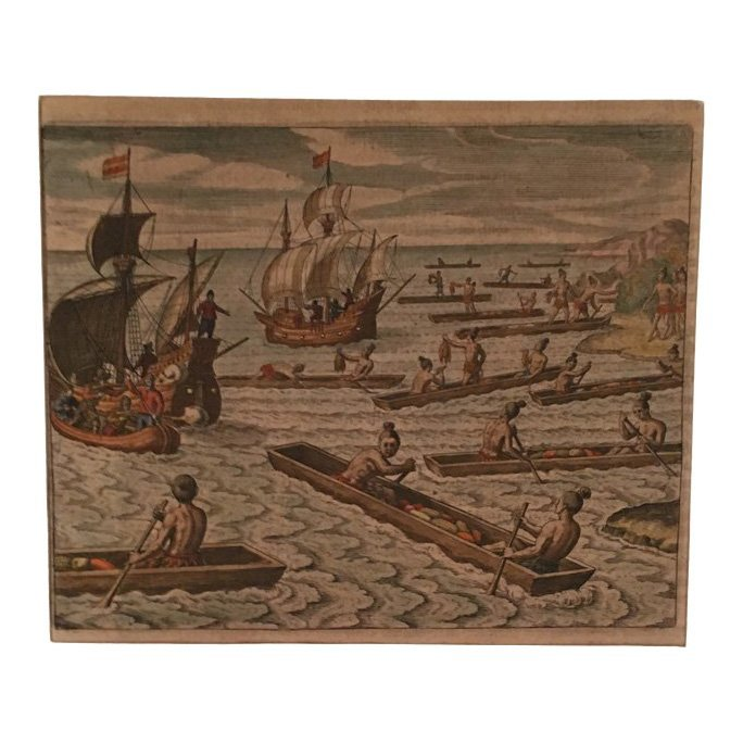 Locals Trading with Europeans, Theodore de Bry 16th C