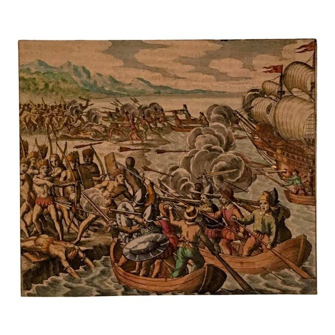 Vespucci in Haiti, Theodore de Bry 16th C