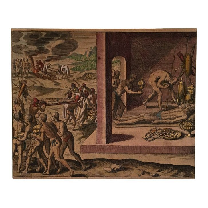 Burying the Dead in Mexico, Theodore de Bry 16th C