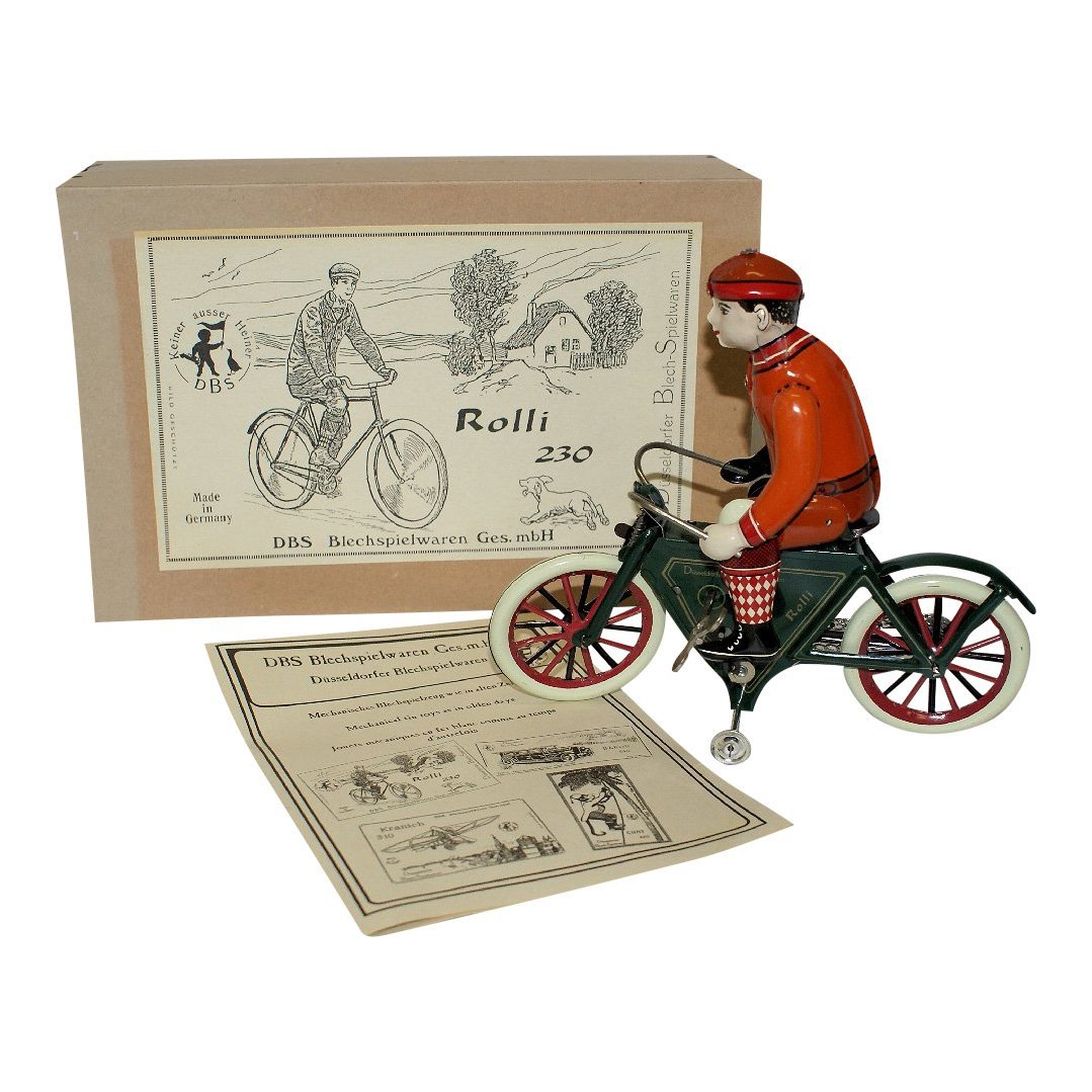 Rolli 230 Tin Wind-up Bicycle with Rider Figure
