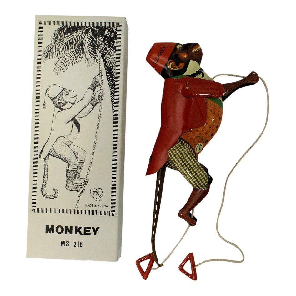 Vintage Tin Climbing Monkey Toy