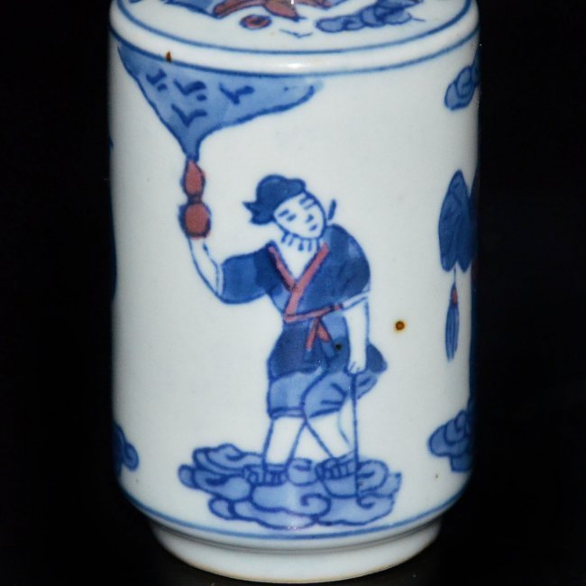 Kangxi Blue & White Figural Painted Vase - 10