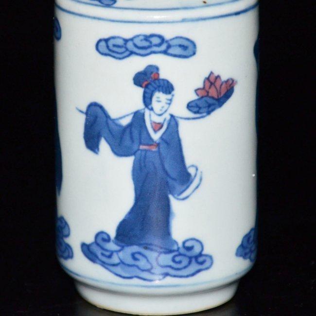 Kangxi Blue & White Figural Painted Vase - 8