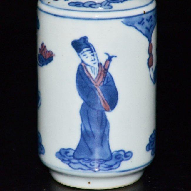 Kangxi Blue & White Figural Painted Vase - 9