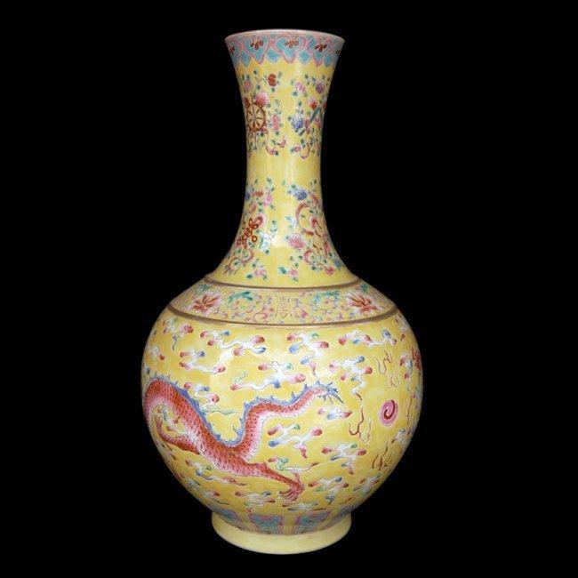Chinese Famille Rose Yellow Globular Dragon Vase - 3
