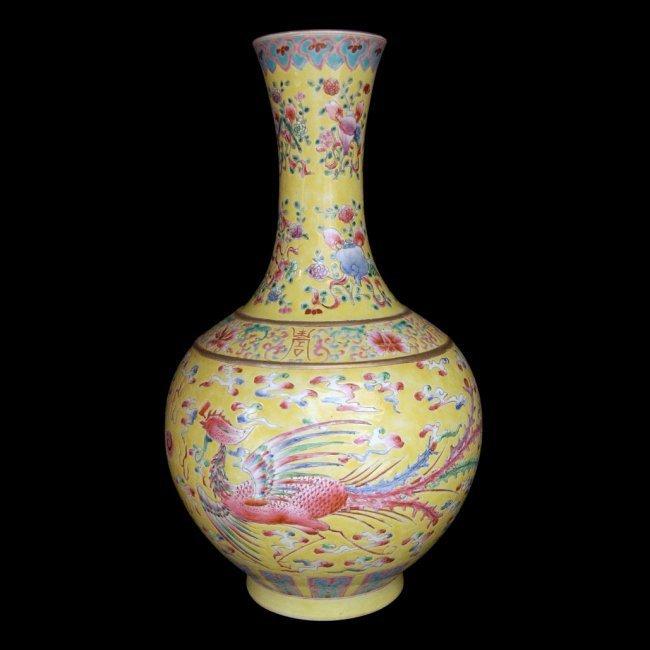 Chinese Famille Rose Yellow Globular Dragon Vase - 4