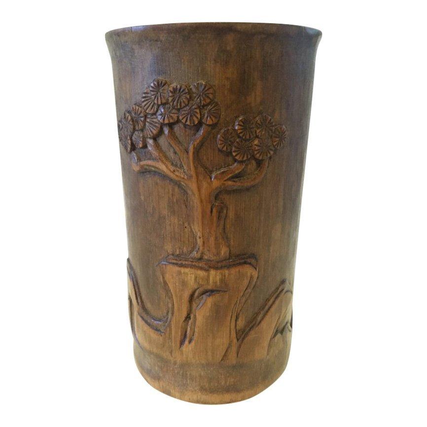 Asian Bamboo Brush Pot