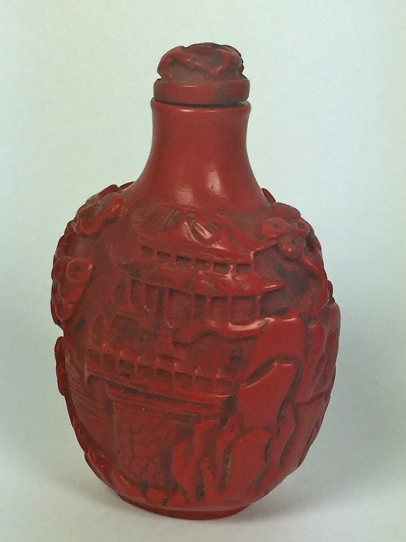 Two Red Lacquer Snuff Bottles - 6