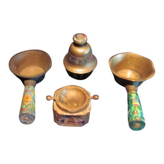Lot of Chinese Enamel Brass Bell, Silk Iron & Ashtray