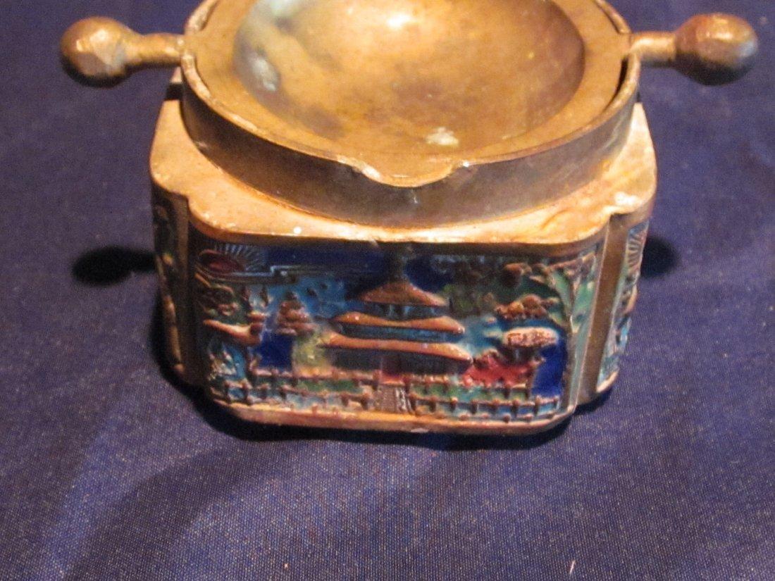 Lot of Chinese Enamel Brass Bell, Silk Iron & Ashtray - 2