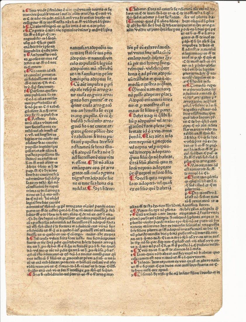 Leaf from Justinianus' Institutiones 1476