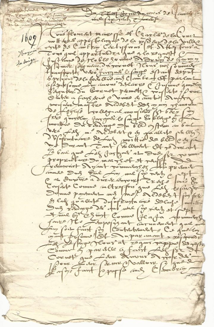Leaf of French Legal Document from Henry IV 1609