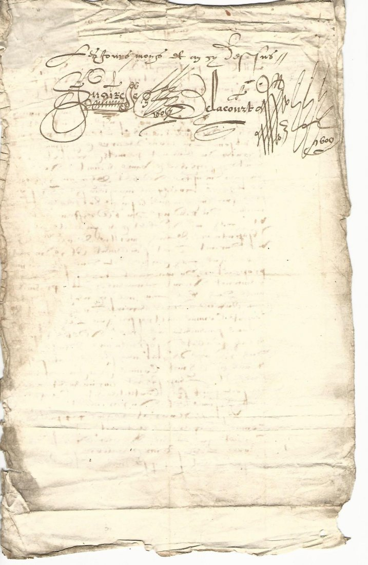 Leaf of French Legal Document from Henry IV 1609 - 2