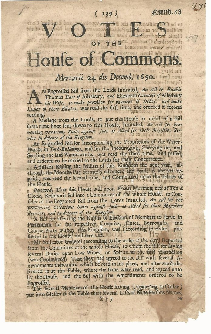 Leaf of Votes of the House of Commons 1690