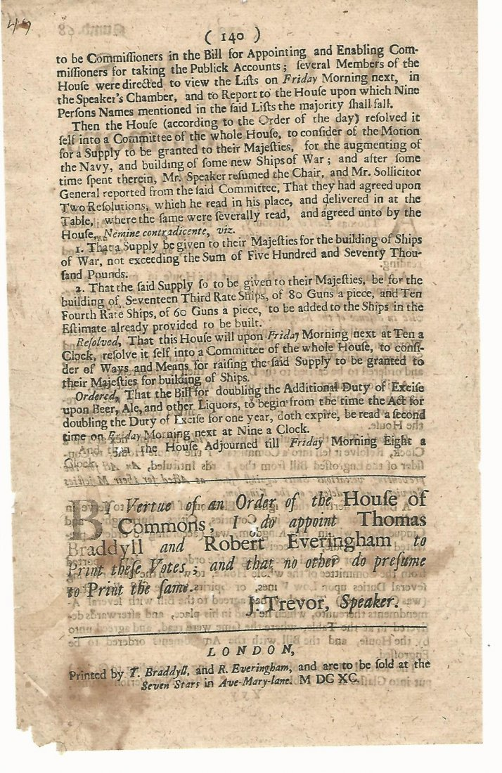 Leaf of Votes of the House of Commons 1690 - 2