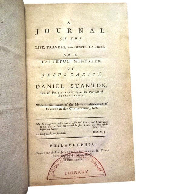 A Journal of Life Travels of Minister Daniel Stanton