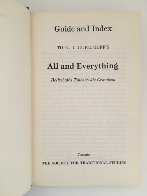 Guide and Index to GI Gurdjieff's All & Everything 1971 - 4