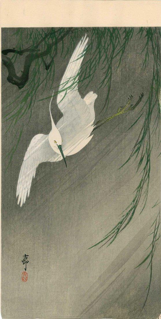 Ohara Koson: White Egret in Flight with Willow, 1920