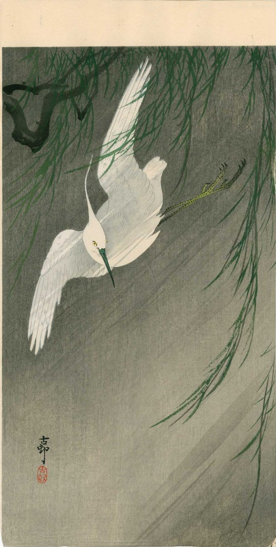 Ohara Koson: White Egret in Flight with Willow, 1920