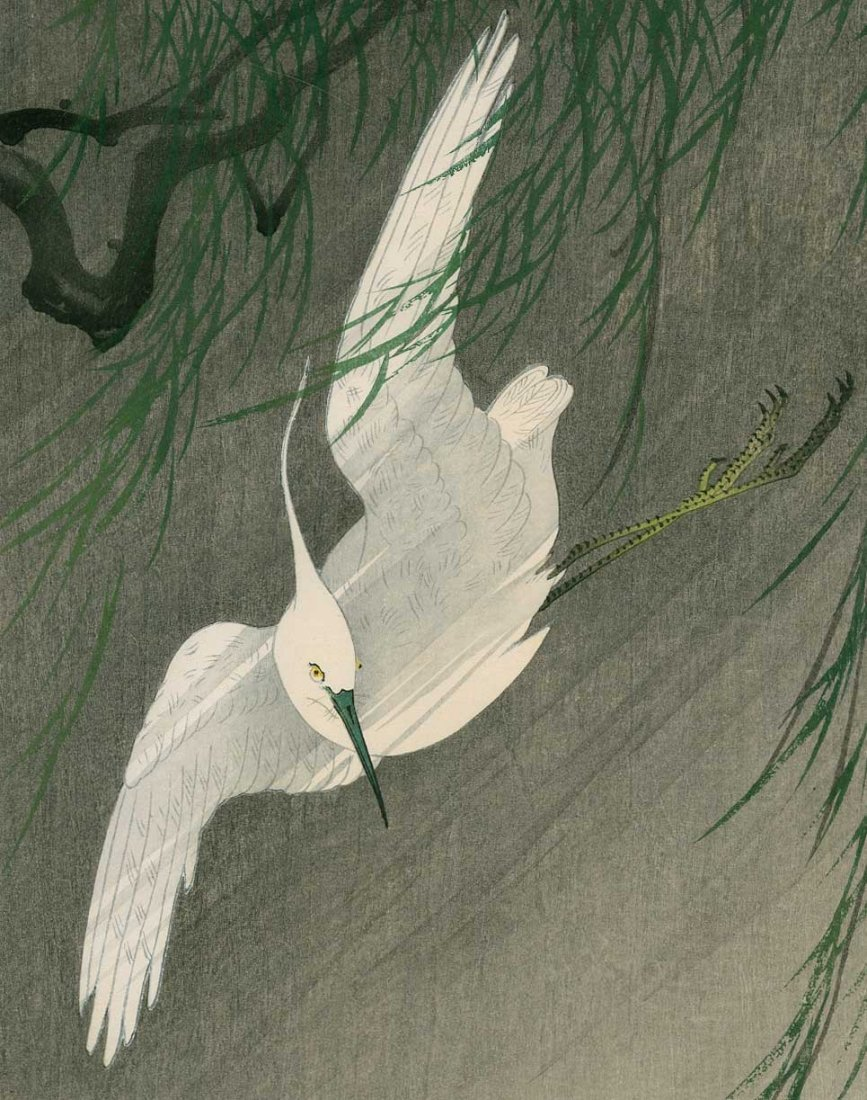 Ohara Koson: White Egret in Flight with Willow, 1920 - 2