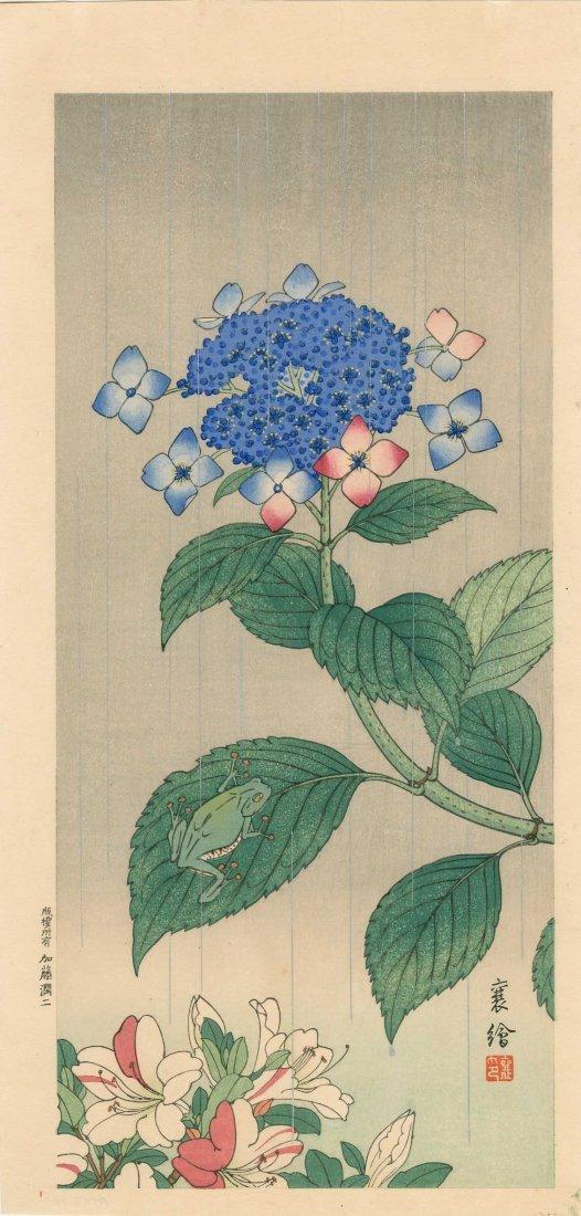 Hashimoto Yuzuru: Treefrog and Hydrangea, 1930