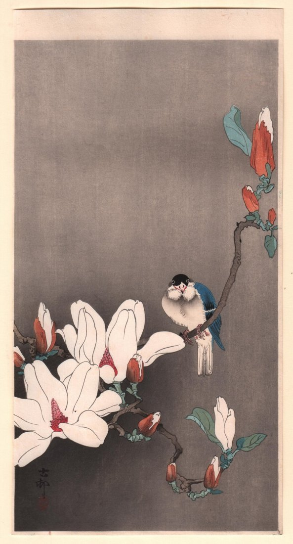 Ohara Koson: Blue Bird on Flowering Branch, 1910's