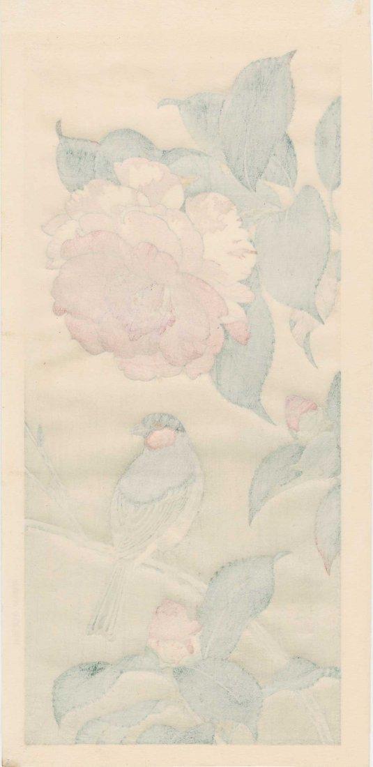 Hashimoto Yuzuru: Red Throated Finch and Camillia, 1930 - 2