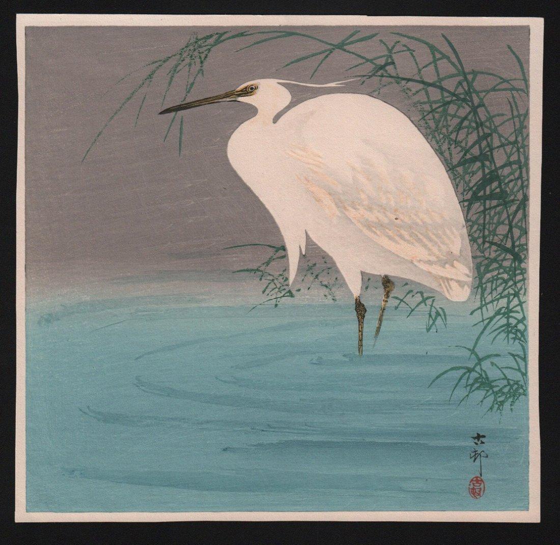 Ohara Koson: Egret in Reeds, 1910's