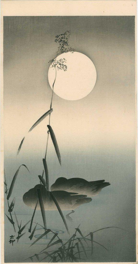 Ohara Koson: Sleeping Ducks and Full Moon, 1920's