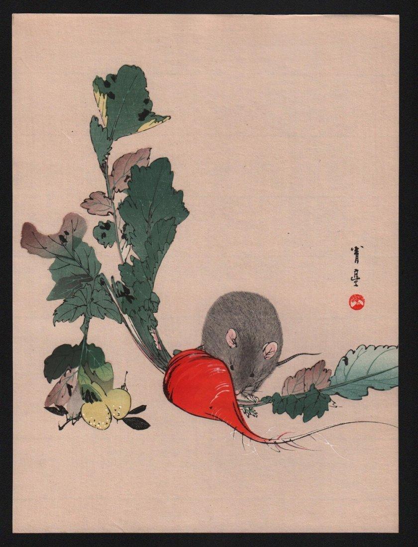 Watanabe Seitei: Mouse & Radish, 1930's