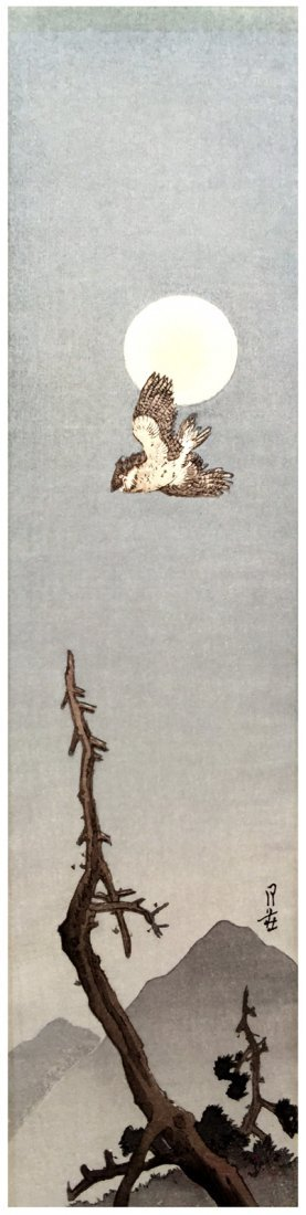Gesso Yoshimoto: Moonlight Owl, 1920's