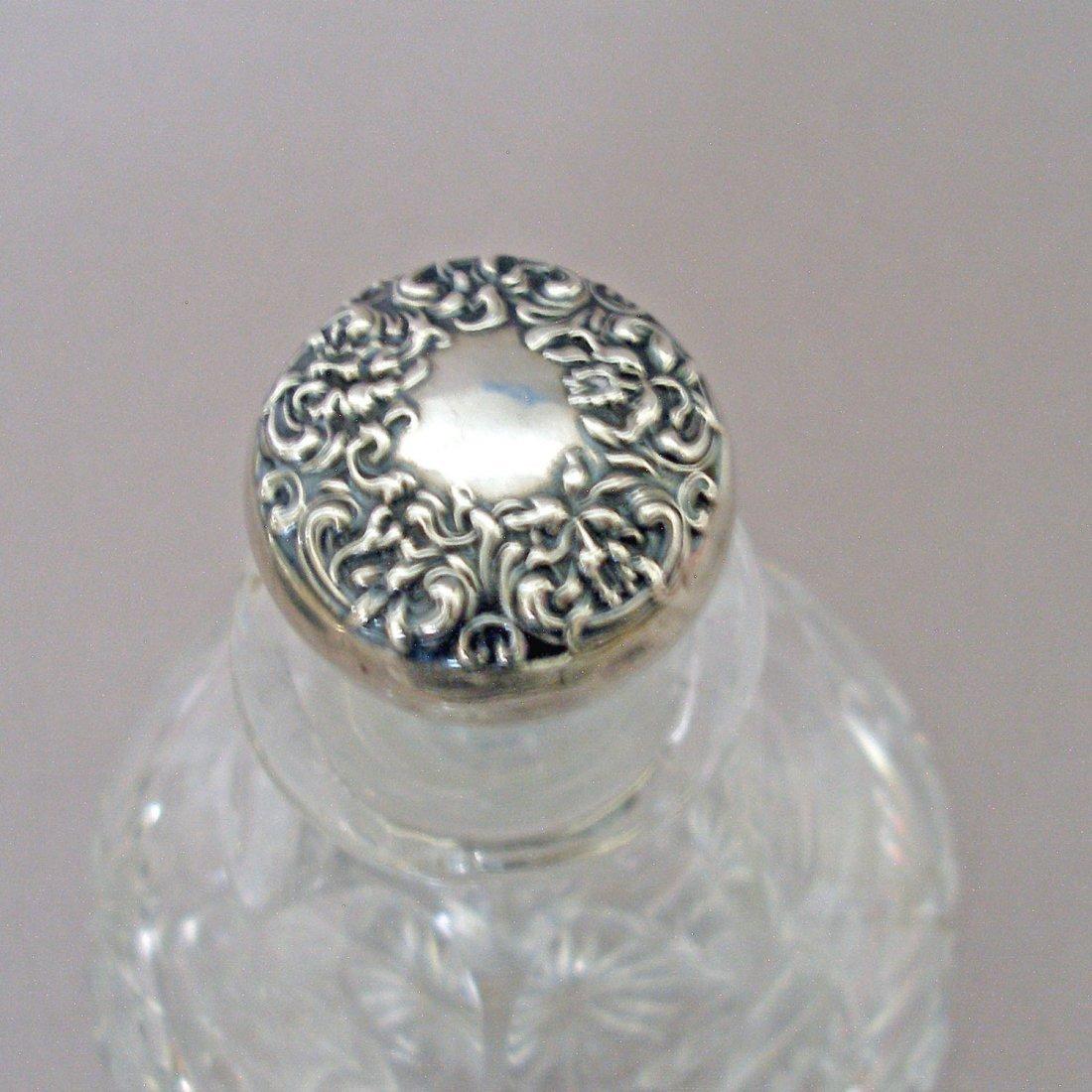 Sterling Lidded Glass Crystal Cologne/Perfume Bottle - 5