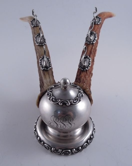 American Sterling Antler Horn Inkwell & Pen Stand - 2