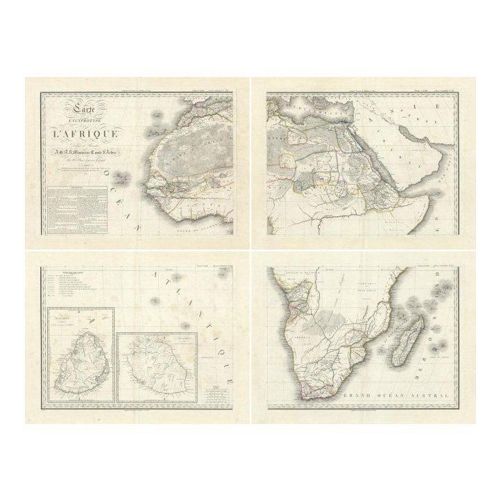 Carte Encyprotype L'Afrique by Adrien Hubert Brue 1814
