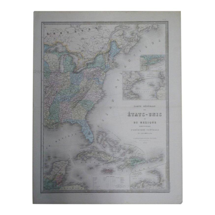 Carte Genrale Des Etats-Unis Et Du Mexique 1862