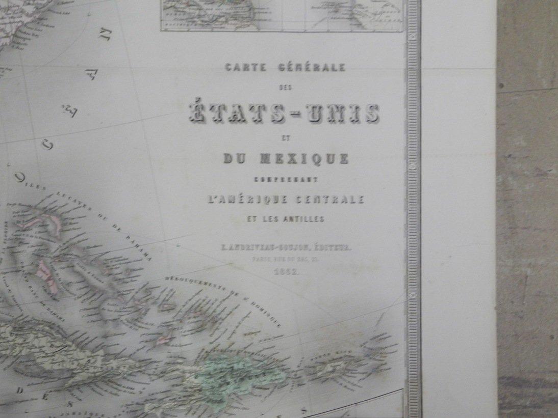Carte Genrale Des Etats-Unis Et Du Mexique 1862 - 2