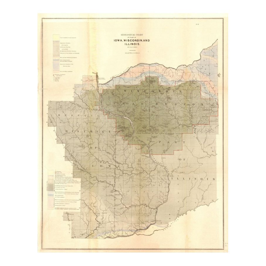 Geological Chart of Iowa, Wisconsin, & Illinois 1844
