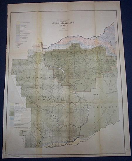 Geological Chart of Iowa, Wisconsin, & Illinois 1844 - 2