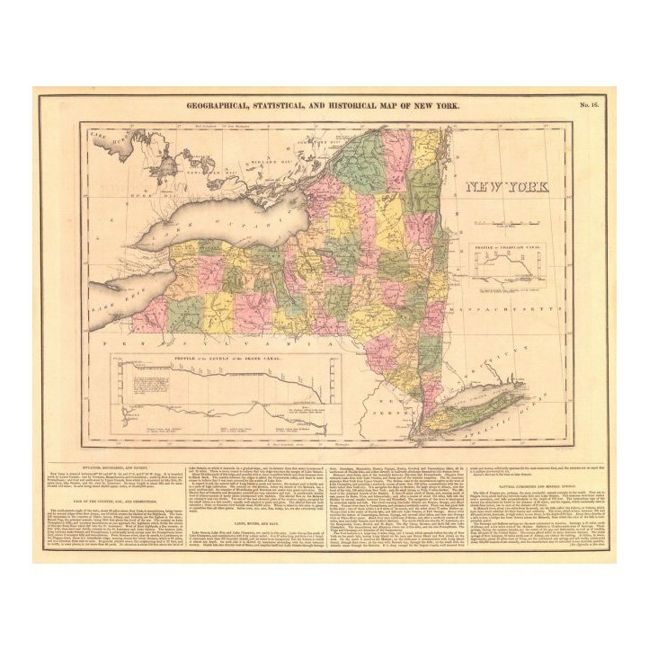 Statistical & Historical Map of New York 1827