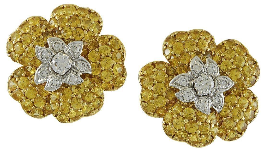 Diamond Sapphire Earrings, 1.5 ctw