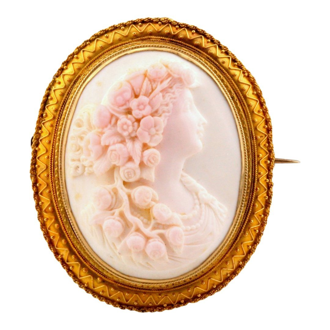 Victorian 14K/20K Gold Conch Cameo Etruscan Brooch