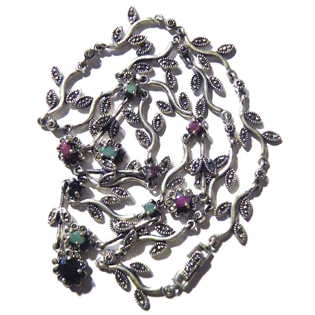Vintage Sapphire Ruby Emerald Sterling Silver Necklace - 4