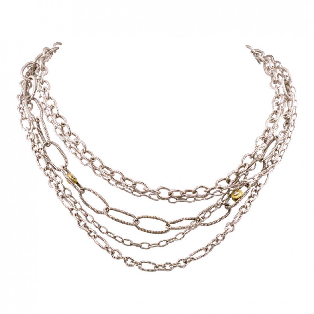 Judith Ripka: 18K Gold Sterling Diamond Necklace