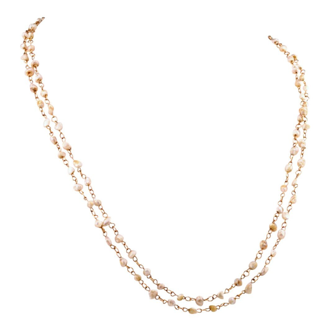 Victorian 14K Gold Natural River Pearl Necklace