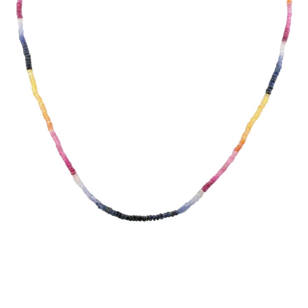 14K Gold Filigree Multicolor Sapphire Bead Necklace