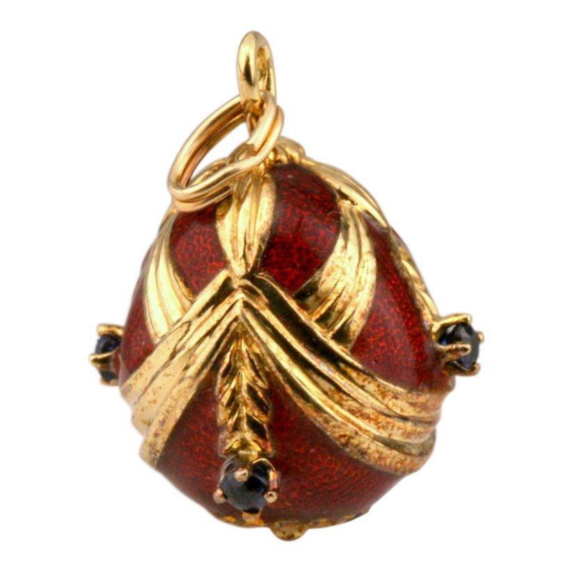 14K Gold Franklin Mint Sapphire Faberge Egg