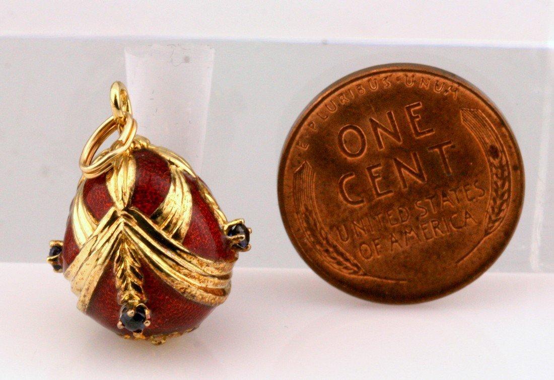 14K Gold Franklin Mint Sapphire Faberge Egg - 2