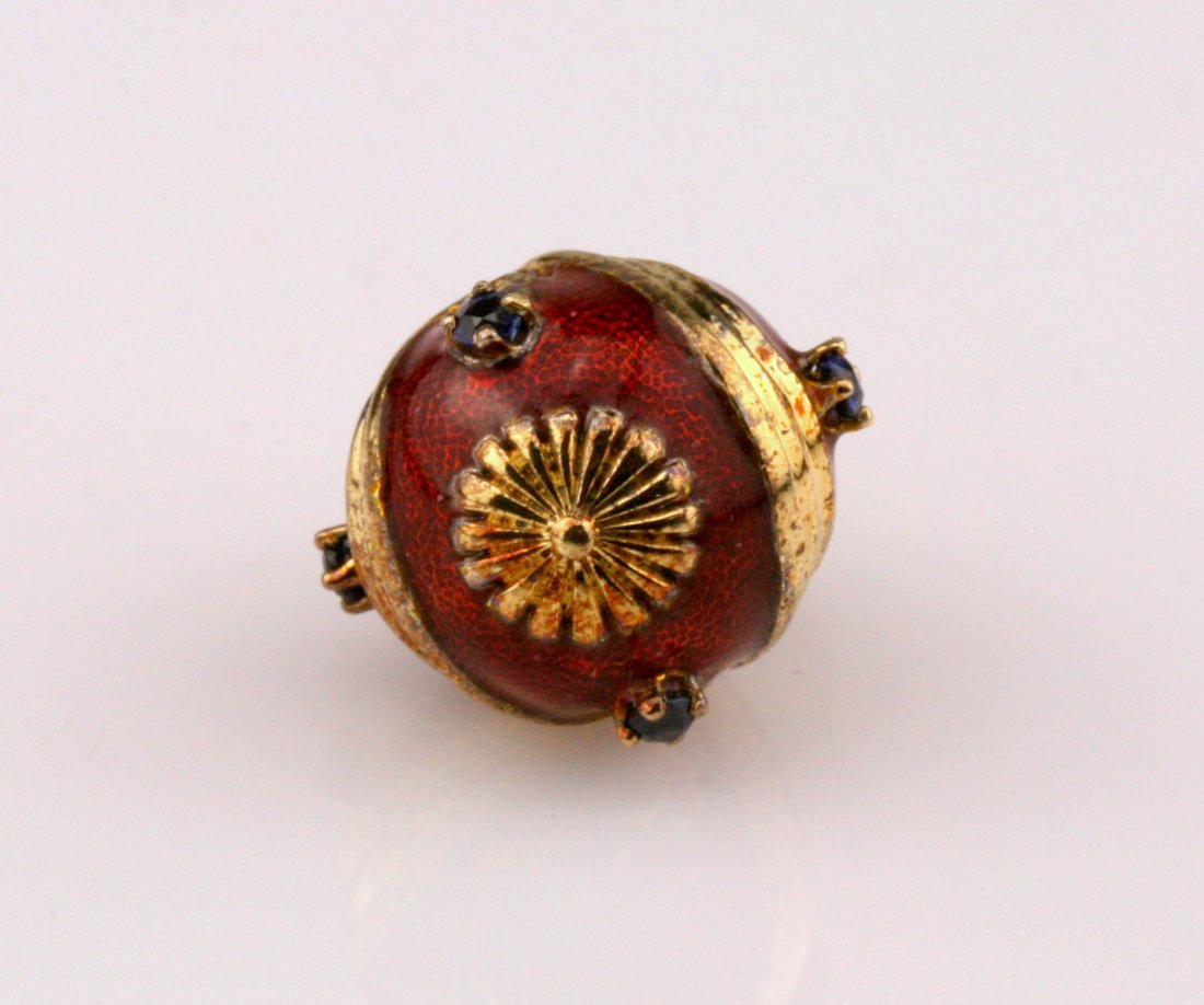 14K Gold Franklin Mint Sapphire Faberge Egg - 3
