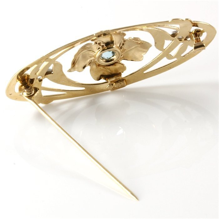 14K Two-Tone Gold Diamond Aquamarine Brooch, 0.91 ctw - 3