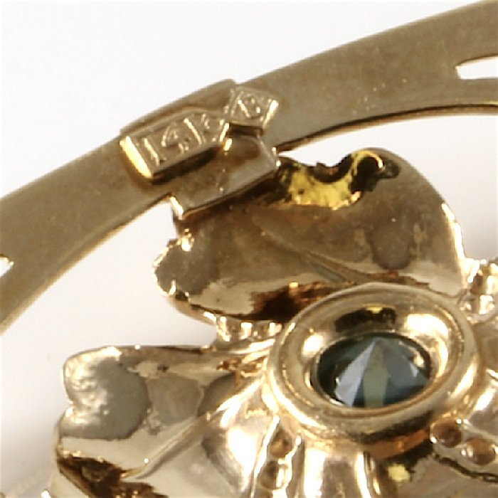 14K Two-Tone Gold Diamond Aquamarine Brooch, 0.91 ctw - 5